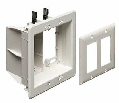 Arlington TVBU505-1 TV Box Recessed Outlet Wall Plate Kit, 2-Gang, White, 1-Pack