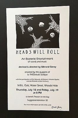 Edward Gorey *Heads Will Roll* Poster SIGNED BY GOREY - RARE