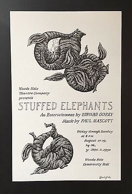 Edward Gorey* Stuffed Elephants* 1990 poster- ILLUSTRATED & SIGNED BY GOREY-RARE
