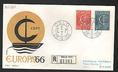 ZS-K020 NORWAY - Europa Cept, Fdc 1966 From Oslo Pfs, To Italy Cover