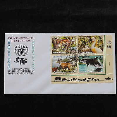ZS-S107 UNITED NATIONS - Wild Animals, Perf. Sheet, 2000, Fdc Cover