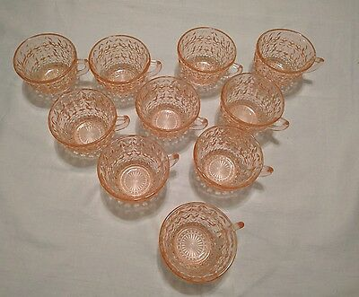 pink depression glass punch cups