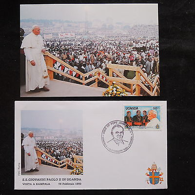 ZS-S517 UGANDA IND - John Paul II, Visit To Kampala, W/Photo 1993 Fdc Cover