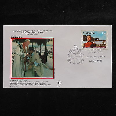 ZS-S670 COLOMBIA - John Paul II, Visit To Tumaco 1986, Great Franking Cover