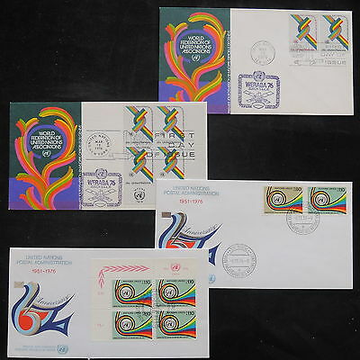 ZS-T156 UNITED NATIONS - Fdc, 1976 25Th Anniversary Lot Of 4 Different Covers