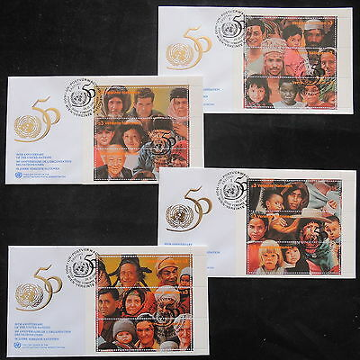 ZS-T163 UNITED NATIONS - Fdc, 50Th Anniversary 5 Different Sheets 1995 Covers