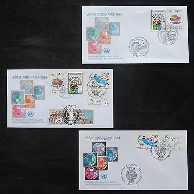 ZS-T222 UNITED NATIONS - Fdc, 1985, Definitives, Lot Of 3 Different Covers