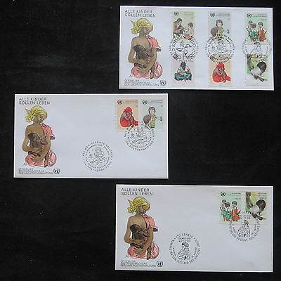 ZS-T224 UNITED NATIONS - Fdc, 1985, Children Survival, Lot Of 3 Different Covers