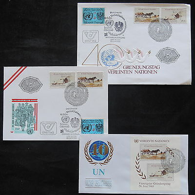 ZS-T225 UNITED NATIONS - Fdc, 1985, Horses, Lot Of 3 Different Covers