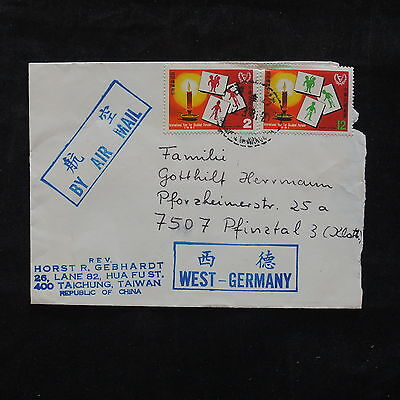 ZS-T229 TAIWAN - Cover, Taichung To West Germany Pfinztal
