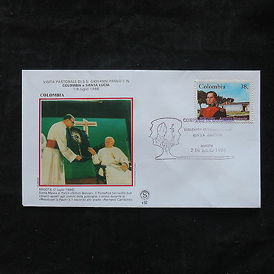 ZS-T367 COLOMBIA - John Paul Ii, 1986 Fdc Visit To Bogota Cover