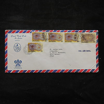 ZS-T459 BARBADOS IND - Marine Life, 1989 Airmail To Milan Italy Cover