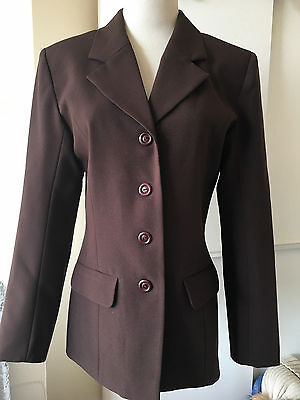 Ladies Brown Smart Fitted Suit Jacket Size 8