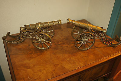 Antique Pair Of Brass Cannon Hearth Display, Desk Ornaments