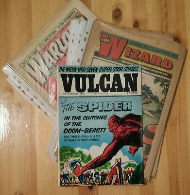 Vintage Comic Bundle, The WIZARD x6,  WARLORD  x2 and VULCAN x1all from 1970's