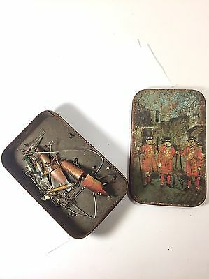 "Old Vintage Tin ""beefeaters Military"" With Old/vintage Fishing Hooks & Lures"