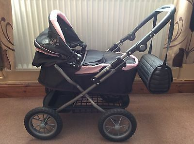 Child's Toy Silver Cross Pram Grey And Pink