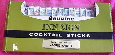 Vintage Retro CARDIFF Genuine INN SIGN Cocktail Sticks - Unused & Boxed