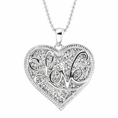 Crystaluxe 'Love' Script Overlay Pendant with Swarovski Crystals in Silver