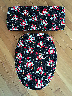Minnie Mouse Print Back Red White Disney Fabric  Bathroom Toilet Seat Cover Set