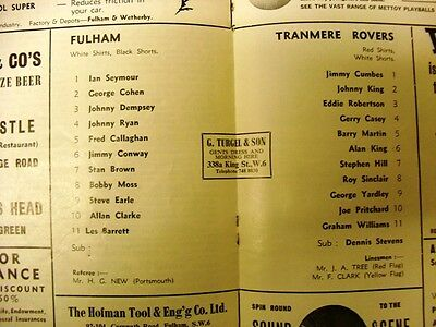 Fulham V Tranmere Rovers League Cup 2Nd Rnd  1967