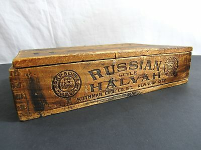 Vtg Rothman Chocolate Co Russian Halvah New York City Antique Wood Candy Box