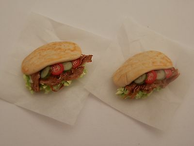 Dolls house food:Takeaway night doner kebabs for two -By Fran
