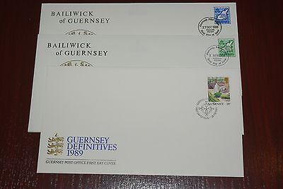 1989 - 1993 3 x Guernsey First Day Covers FDC