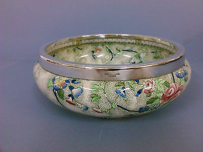 S Hancock and Sons Royal Corona Ware Rosetta bowl with silver plated rim