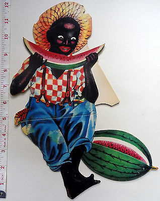 c1920 COUNTER DISPLAY LARGE DIE-CUT ADVERT CARD ~  NEGRO BOY EATING MELON ~ EXC.