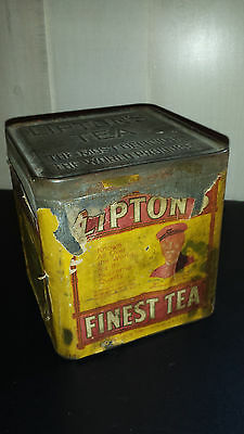 VINTAGE 1930's LIPTON'S TEA COLLECTIBLE ADVERTISING TEA TIN (EMPTY)
