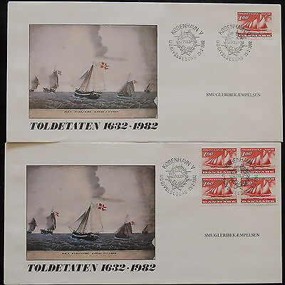 ZS-U012 DENMARK - Ships, Fdc, 1982, Block Of 4, Lot Of 2 Covers