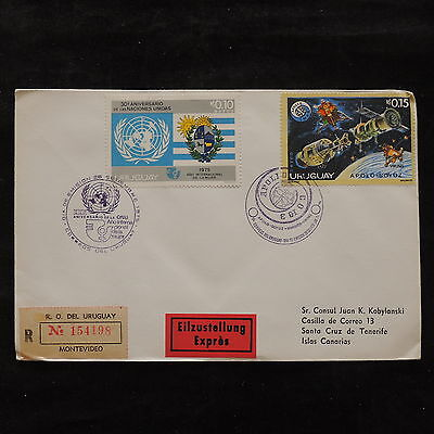 ZS-U663 SPACE - Uruguay, 1975, Onu, Registered Cover