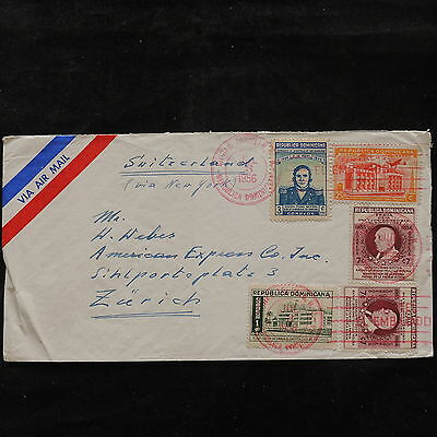 ZS-U664 DOMINICAN REP. - Buildings, Airmail To Switzerland Cover