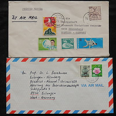 ZS-V283 S. KOREA - Cover, 1971, Flowers, Airmail To Germany, Lot Of 2 Covers