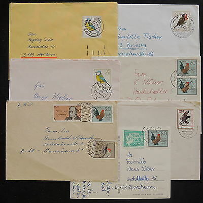 ZS-V940 BIRDS - Germany/Ddr, Great Lot Of 7 Airmail Covers