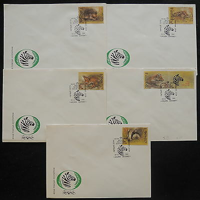 ZS-V982 WILD ANIMALS - Russia, 1989, Great Franking, Lot Of 5 Airmail Covers