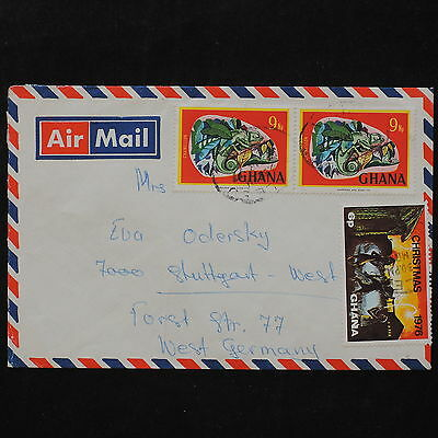 ZS-W032 GHANA - Wild Animals, 1976, Christmas, Great Airmail To Germany Cover