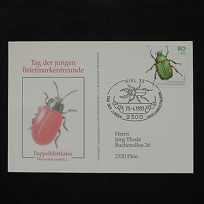 ZS-W079 INSECTS - Germany, 1993, Fdc, Kiel, Great Franking, Airmail Cover