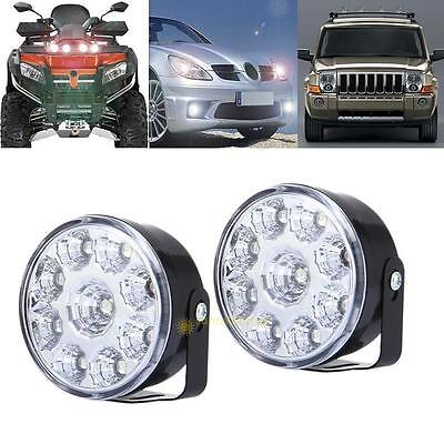 2x 9W 9 LED White Round Daytime Running Tail Light DRL Car Fog Day Driving lamp
