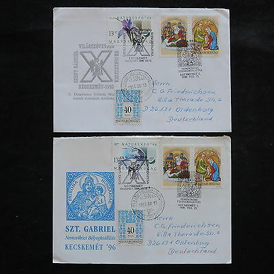 ZS-W446 HUNGARY - Fdc, 1996, Religion, Paintings, Airmail, Lot Of 2 Covers