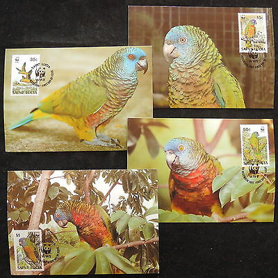 ZS-W549 WWF - St. Lucia Ind, 1987, Fdc, Parrots, Lot Of 4 Postcards