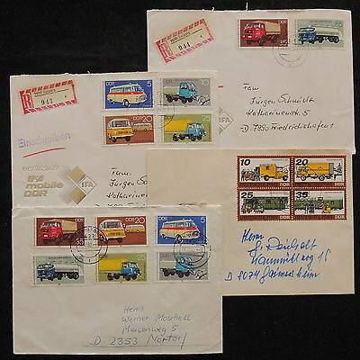 ZS-W555 MOTOR VEHICLES - Germany, Great Franking, Registered, Lot Of 4 Covers