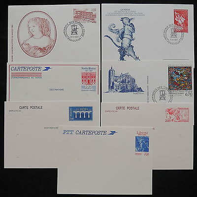 ZS-W633 FRANCE - Entires, 1986-2001, Stationery, Lot Of 7 Postcards