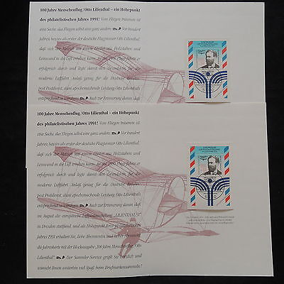 ZS-W654 GERMANY - Aviation, 1991, Sheets, Booklet, Lot Of 2 Covers