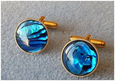 Mens Blue Cufflinks Abalone Shell Gold Plated 15 mm Round Valentine's Gift