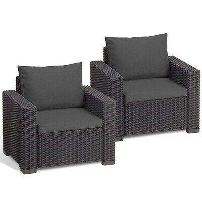 Patio Rattan Chairs Set of 2 Garden Seat Armchair Cushions Armrest Dark Grey New