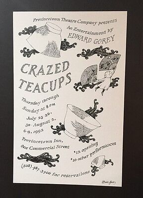 Edward Gorey *Crazed Teacups* poster - ILLUSTRATED & SIGNED BY GOREY - RARE