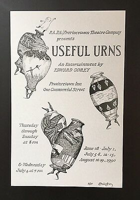 Edward Gorey *Useful Urns* poster - LTD ED - ILLUSTRATED & SIGNED BY GOREY -RARE