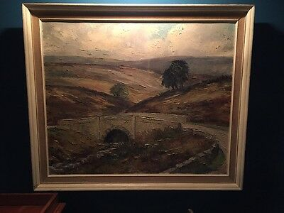 Vintage Oil On Canvas Signed Country View